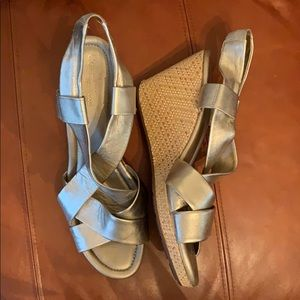 Cole Haan Gold Leather Wedge Sandals 11B